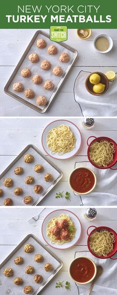 New York agrees, meatballs are just as great made with turkey! Make this recipe tonight to see for yourself! Meatballs | Spaghetti and Turkey Meatballs | Easy Dinners