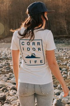 Nice and clean in the front with a sweet stacked text print on your back! Slim fit Preshrunk Garment dyed for soft hand feel organic cotton, recycled plastic Screen print graphic Aw 17, Soft Hands, Organic Cotton, Slim, T Shirts For Women, Tees, Fitness, Collection, Fashion