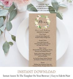 Butterfly Themed Printable Wedding Menu Template Pdf Just Enter