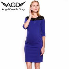 Find More Dresses Information about Spring Summer Pregnant Woman Maternity Dresslace Stitching Round Neck Sleeve Slim Dress Maternity Dress European American Style,High Quality dresses halter,China dress elmo Suppliers, Cheap dress nordstrom from Angel Growth Diary on Aliexpress.com