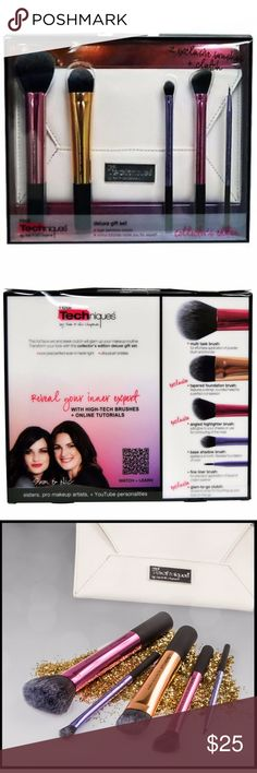 Real Techniques Deluxe Gift Set Brand new limited edition Real Techniques deluxe gift set.   Includes: multitask brush, tapered foundation brush, angled highlighter brush, base shadow brush, fine liner brush, and glam-to-go bag.    Not interested in trades, but all offers will be considered. Happy poshing! Real Techniques Makeup Brushes & Tools