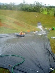 DIY water slide, what a great idea!