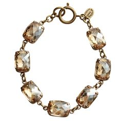 "Catherine Popesco 14k Gold Plated Crystal Rectangular Bracelet, 7.25"" – Regencies"