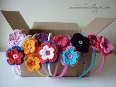 Crochet flower hairbands