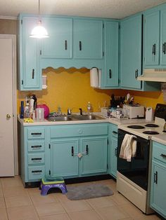 Old Kitchen East Turquoise Yellow By Jdhoover Via Flickr Cute
