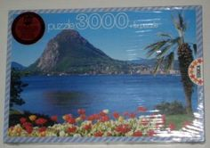 "3000 piece jigsaw puzzle FACTORY SEALED from 1993 - ""Lugano and San Salvatore"" $45"