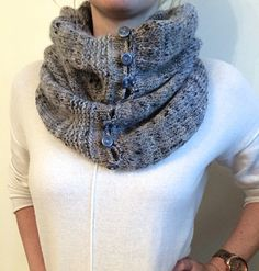Free Pattern: Robin Cowl - versatile scarf can be worn buttoned or hooded.