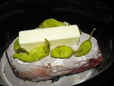 Mississippi Roast: By far the best recipe I have tried. Mississippi Roast - - Put chuck roast in crock pot, Sprinkle with Hidden Valley ranch dressing, add McCormick Au Jus mix, a stick of butter, 5 pepperoncini peppers. DO NOT ADD WATER. Cook on low for 7-8 hrs