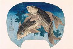 WikiArt.org - the encyclopedia of painting katsushika hokusai  two carps