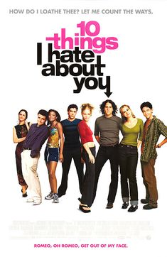 10 Things I Hate About You (Starring Julia Stiles, Heath Ledger, Joseph Gordon-Levitt, Larissa Oleynik) Iconic 90s Movies, Iconic Movie Posters, Old Movies, Vintage Movies, Great Movies, Vintage Posters, Room Posters, Poster Wall, Music Posters