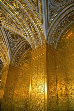 The Gold Drawing Room of the Winter Palace, St Petersburg, Russia. Tsaritsa Maria Alexandrovna used this room as her state drawing room. Today, as part of the State Hermitage Museum, this room retains its original decoration. (V)