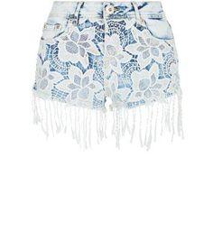Parisian New Look Parisian Pale Blue Lace Front Tassel Hotpants #pants #covetme
