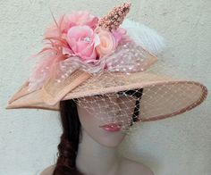 A Pale Apricot Sinamay ChurchOr Tea Hat With Flowers by prettyGee, $89.00 -- FOR BRIDE