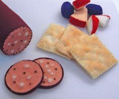 Wool Felt Play Food Accessory Summer Sausage and by EvaLauryn