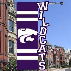 Kansas State Wildcats 28 x 44 Cut-Out Applique One-Sided Banner Flag - Purple/White
