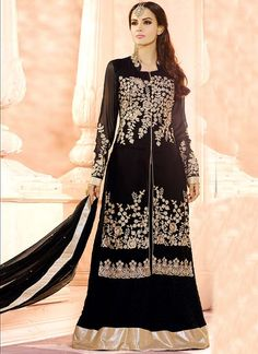 Ravishing attire to enhance your beauty. Pamper the women in you with this beautiful black georgette a line lehenga choli. The embroidered, lace, resham and zari work looks chic and perfect for any oc...