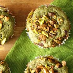 These moist and tender vegan green tea muffins are infused with matcha powder and topped off with a sprinkling of crunchy pistachios!