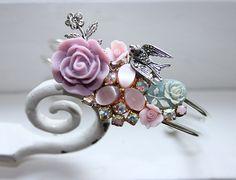 Enchanted Garden - vintage collage bracelet, lilac and pink, upcycled vintage, delicate for her, $58.00