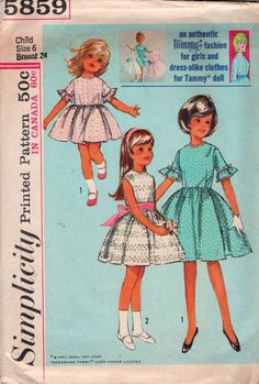 Simplicity 5859 1960s Tammy Fashion Girls Dress and Doll Dress Pattern  Childs Vintage Sewing Pattern Size 6 Breast 24