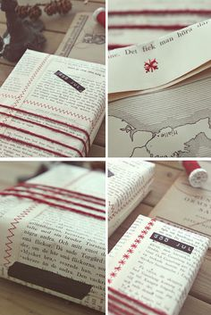 Make your own gift wrap paper. Just sew together pages from an old book.
