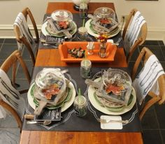 chalkboard paper used as table runners