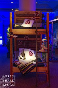 bunk beds summer camp themed kids party bar mitzvahs philadelphia party planners evantine design
