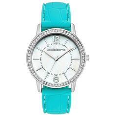 Liz Claiborne Womens Blue Crocodile Rubber Strap Watch