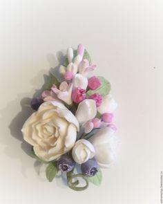 Купить Брошь с цветами из полимерной глины летни день - комбинированный, айвори, розовый, нежно-розовый