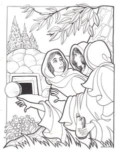 Mary Madeline at the empty tomb Cross Coloring Page, Jesus Coloring Pages, Easter Coloring Pages, Colouring Pages, Coloring Pages For Kids, Preschool Bible, Bible Activities, Sunday School Coloring Pages, Sunday School