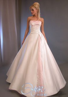 white wedding dresses with pink accents  Wedding Dresses ...