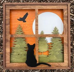 "Precision Laser Cut Shadow Box Handcrafted Wood Scene Inlaid / Black Cat in Window /""Wistful Moments"" / Forest Trees / Eagle / Moon 3d Laser, Laser Cut Wood, Laser Cutting, Wood Shadow Box, Wood Stain Colors, Scroll Saw Patterns, Wood Patterns, 3d Christmas, Window Cards"