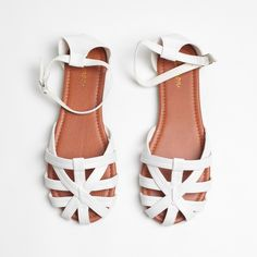 """White Woven Vegan Leather 2 Piece Huaraches Flats White Faux Leather 2 Piece Flat Sandals 