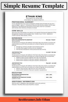 Great Resume Templates For Microsoft Word Resume Template Scarlett Foster  Simple Resume Template Job Resume .