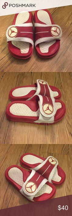 Jordan Slip-On Sandals Red and White Jordan Slip-On Sandals. Jordan Shoes