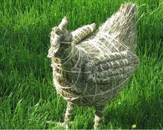 A big-sized hen figurine hand - weaved from hay. It was manufactured with application of nowhere else found technique of creating hay ropes and their appropriate sewing. Easter Season, Spring Is Coming, Hand Engraving, Garden Sculpture, Bowls, Angels, Weaving, Animal, Decoration