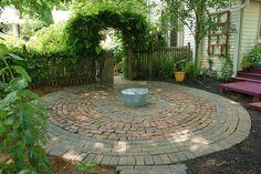 Circular patio of brick and stone | Flickr - Photo Sharing!