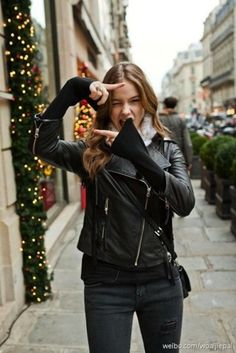 Black motorcycle leather jacket-A MUST have for every girl-It is worth the investment!