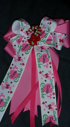 Candy Cane Cutie Cheer Style Bow by GumpiegirlsGifts on Etsy