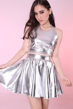 Image of Made To Order - Sienna Silver Halter & Skirt Set Girly Outfits, Cute Outfits, Fashion Outfits, Satin Skirt, Satin Dresses, Dress Skirt, Skirt Set, Mode Kawaii, Space Fashion