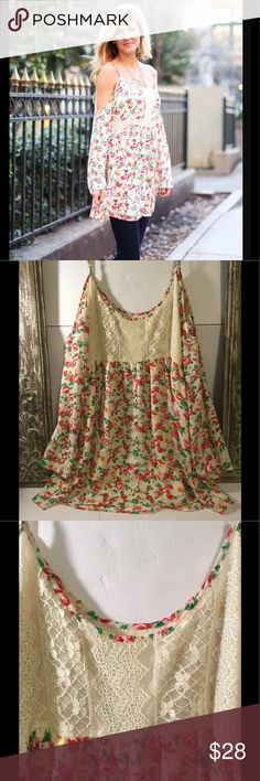 """NEW LISTING Altar'd State flowy floral top❤️❤️❤️❤️ Altar'd State floral flowy top with side zip and adjustable straps. Tag missing but pretty sure top is medium. Dimensions are approx 35from top of strap to bottom, 18"""" across bust laying flat. Lined top. Very good used condition with no stains or holes Altar'd State Tops Blouses"""
