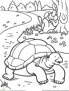 First Grade Fairy Tales Worksheets: Color the Tortoise and the Hare