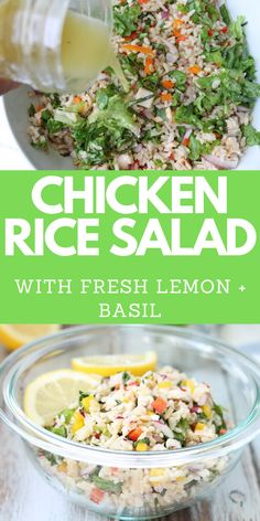 Chicken Rice Salad  Phat Salad! This healthy recipe for cold Chicken Rice Salad features fresh lemon and basil. Use leftover rotisserie! Tasty, easy and quick lunch recipe. Great for meal prep as leftovers taste great. Gluten free brown rice! Rice Salad Recipes, Brown Rice Recipes, Summer Salad Recipes, Salad Recipes For Dinner, Summer Salads, Chicken Rice, Chicken Gravy, Stuffed Chicken, Rotisserie Chicken