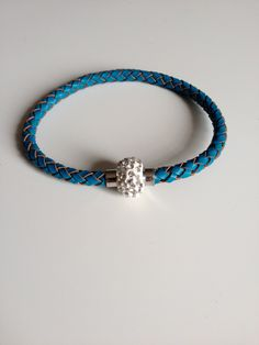 Blue Leather Bracelet with Magnet Clasp - Blue Braided Leather Bracelet - Light Blue Leather Bracelet - Mothers Day Gift - Gifts Under 10