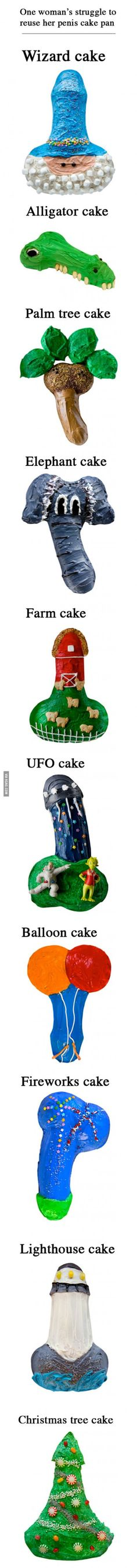 One woman's struggle to reuse a penis-shaped cake tin - 9GAG