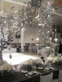 #Gray & silver wedding reception ... Wedding ideas for brides, grooms, parents & planners ... https://itunes.apple.com/us/app/the-gold-wedding-planner/id498112599?ls=1=8 … plus how to organise an entire wedding, without overspending ♥ The Gold Wedding Planner iPhone App ♥