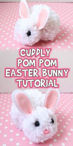 I am so excited to share this Cuddly Pom Pom Easter Bunny Tutorial with you! This adorable bunny is so easy to make, and super cuddly too! crafts for kids preschool easy Cuddly Pom Pom Easter Bunny Tutorial Easter Arts And Crafts, Easter Projects, Bunny Crafts, Craft Projects, Rabbit Crafts, Craft Ideas, Flower Crafts, Crafts To Do, Kids Crafts