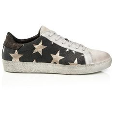AIR & GRACE Pre Order Cru Trainer - Black & Light Gold Star Print ($235) ❤ liked on Polyvore featuring shoes, sneakers, colorblock shoes, water repellent shoes, star shoes, rip trainer and distressed sneakers