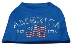 Mirage cat Products Classic American Rhinestone Shirt, X-Small, Blue -- To view further, visit now : Cat Apparel