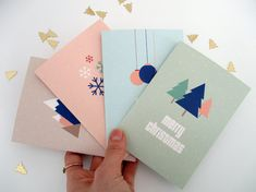 A6 Christmas Cards x4, Pastel Color Scandinavian Christmas Cards, Modern Minimalist Christmas Cards, A6 FOLDER CHRISTMAS CARDS X4