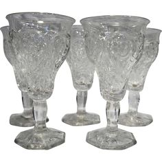 McKee Rock Crystal Depression Glass Water Goblets Set of 5